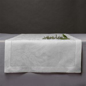 runner tavola jacquard bianco motivo victorian